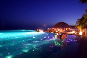 Infinity Pool with Dining And LED Lights Huvafen Fushi Resort in Maldives