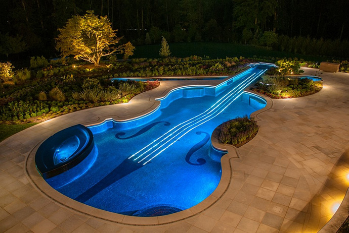Nighttime Paradise - Music Themed Violin Inground Pool, Bedford, NY